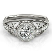 14K White Gold Valentine Rings 1.00 Ct Real Diamond Engagement Ring 5 6 7 8