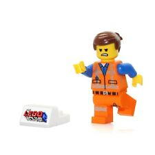 The LEGO Movie 2 MiniFigure - Emmet in Worn Uniform (Angry Face & Display Stand)