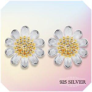 Daisy Earrings Stud Sterling 925 Silver Jewellery Sun Flower Girls Women Wedding