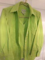 David Brooks 2 Piece Sleeveless Top and Shirt/Jacket-Lime-Size S/P-SHIPS FREE