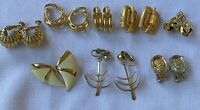 9pr Vintage Gold Tone Clip On Earring Signed 3 Trifari,2 Monet ,1 Napier, More