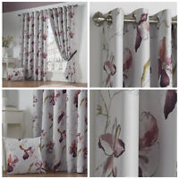 ASCOT Floral Print Woven Lined Blockout Ready Made Eyelet Ring Top Curtains Pair