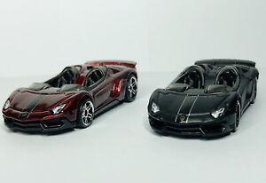 Hot Wheels Lamborghini Aventador J Set Of 2 'Loose' Dark Red And Black