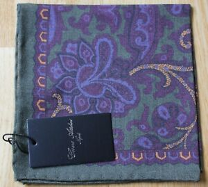 Cesare Attolini Wool & silk pocket square handkerchief. New with tag