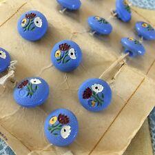 Vtg Czech Blue Flower Buttons Tulips Poppy Plastic Shank 13mm Lot of 12