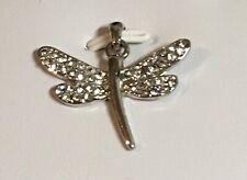 Rhinestone Dragonfly Pendant Silver Tone