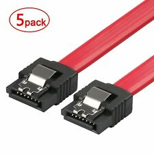 "5 Pack 6"" Red SATA Serial ATA II & III 3.0 Data Cable 6Gb/s Metal Latch 6 inch"
