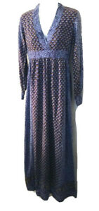 Vintage 70s India Imports of Rhode Island blue block print maxi dress caftan XS