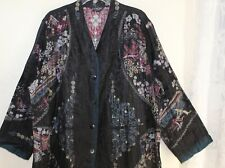 Citron Santa Monica 2X 3X Black Exquisite Asian Imperial Crinkled Blazer Jacket