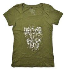 Roxy TIMELESS Green Silver Screenprint Rhinestones Junior's Short Sleeve T-Shirt