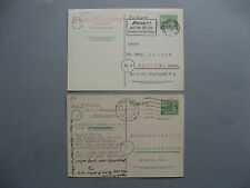 GERMANY BERLIN, 2x prestamped PC 1949+1955(card Kleistpark) diff. sorts of paper