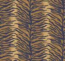 Bold Tiger Wallpaper with a Deep Metallic Gold Backdrop and Navy Markings