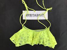 NWT Victoria's Secret PINK Bikini Top~Laser Cut Padded Flounce~Neon Yellow~Sz L