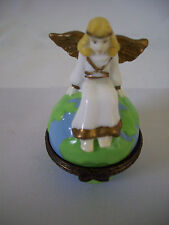 Midwest of Cannon Falls Hinged Angel Sitting on Top of Earth Trinket Box
