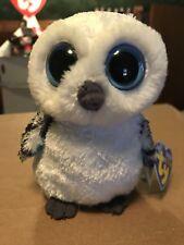 "Ty SPELLS -White/Grey Snow Owl 6"" Beanie Boo! *Retired* RARE & VHTF!!"
