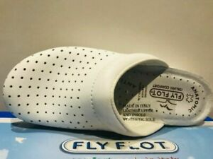 Fly Flot Leather Slippers in White Made in Italy Great for Nurses