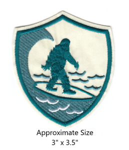 Surfing Surfer Sasquatch Bigfoot Embroidered Iron and/or Sew-On Patch