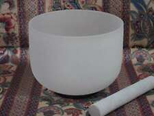 PERFECT PITCH NEW FROSTED QUARTZ CRYSTAL SINGING BOWL 12'' E NOTE SOLAR CHAKRA