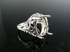 5442 RING SETTING STERLING SILVER, SIZE 7.75, 14X10 MM OVAL STONE