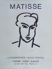 """""""MATISSE: LITHOGRAPHIES - EAUX FORTES MAEGHT 1964"""" Affiche originale entoilée"""