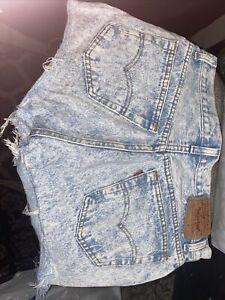 Vintage USA High Rise Waist Levi's 501 Cut Off Shorts Sz 30 Button fly Acid Wash