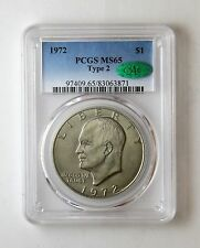1972 Ike Eisenhower Dollar Type 2 $1 Pcgs Ms 65 Cac Certified