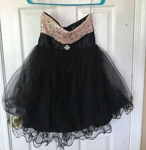 Trixxi Womens Mini Dress Size 5 Black Beige Strapless Dress