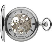 Jean Pierre Chrome Plated Half Hunter Full Skeleton Pocket Watch, ref G303CM