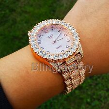 Men Hip Hop Iced out Bling Rose Gold PT Rapper Bling BIG Simulated Diamond Watch