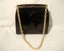 """Vintage Black Alligator Bag Purse 10.5 x 9.5"""" Gold Tone Metal Frame Art Deco"""
