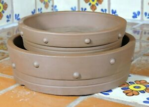2 Pc Yixing High Quality Unglazed Round Bonsai Pot Set Bonsai Pots