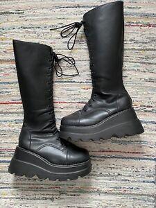 punk/j-fashion demonia style black knee length lace up platform boots size 5.5-6