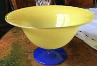 """Vintage Glass Pedestal Centerpiece Bowl Yellow, Blue and Clear 10-1/4"""""""
