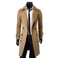 Mens Stylish Gent Slim Fit Double Breasted Overcoat Trench Coat Jacket Outwear