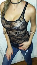 BLACK LACE KNIT BOMBSHELL SEXY SCOOP NECK HOLIDAY LAYERiNG CLUB CAMi TANK TOP S