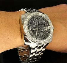 Mens Big Face Silver Finish iCE Master CZ Bezel 2 Row Bling Hip Hop Quartz Watch