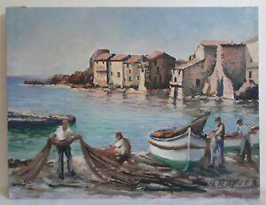 Huile sur toile marine retour de pêche port barques pêcheurs milieu XXème signé