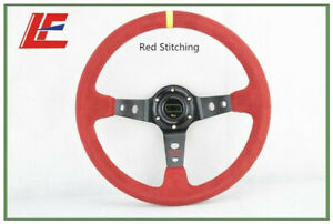 14inch 350mm  Suede Leather Deep Corn Drifting Steering Wheel Red Color New