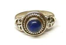 Handmade 925 Sterling Silver Patterned Ring with Real Lapis Lazuli Stone Size R
