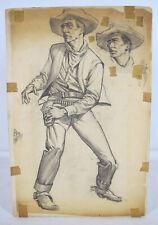 Vintage Western Pulp Gunfighter Illustration Sam Cherry Pencil Drawing #2 yqz