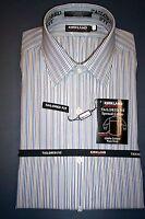NWT KIRKLAND TAILORED FIT NO-IRON SPREAD  DRESS SHIRT BLUE/GRAY STRIPE-16.5 35