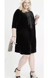 NEW Ryllace Elan $188 Black Velvet Embroidered Tunic Dress Plus Size 18