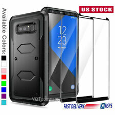 For Samsung Galaxy Note 8 Case Cover Armor With HD Glass Screen Protector 2Pack