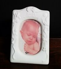 """Russ Brand Baby's Christening Porcelain Frame Baptism New 7.5"""" Tall x 5"""" Wide"""