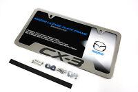 NEW 2016-2018 Mazda CX-3 License Plate Frame Polished w/ logo OEM 0000-83-S35