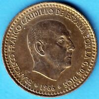 Spanien 1966 - Caudillo Franco - Una Peseta Aluminium-Bronze - Münze