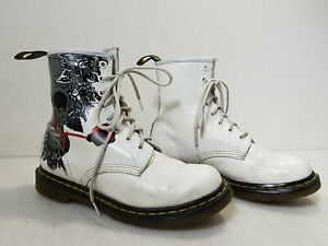 Dr. Martens 'Rose Skull' White Leather 8 Hole Combat Boots Women's Size 9
