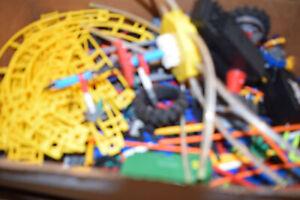 Huge Lot of Vintage Knex Connectors, Rods, Gears, Wheels,