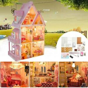 DIY Doll House Miniature Wooden Furniture Dollhouse Kits Doll House Gift Toy AU