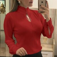 Long Blouse Loose Office Tee Women Casual Tops OL Ladies Chiffon Sleeve T-Shirt